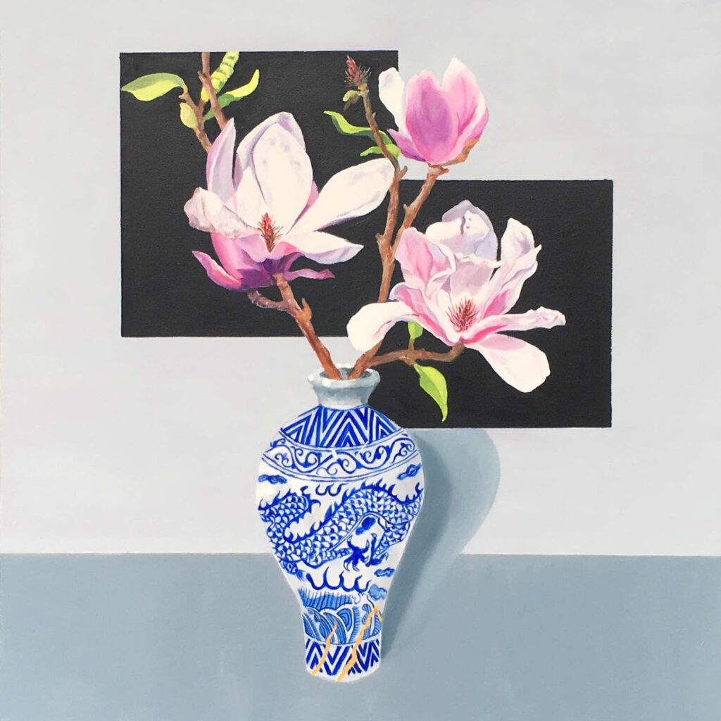 Dragon Vase with Magnolias - oil on canvas 610 mm x 610 mm